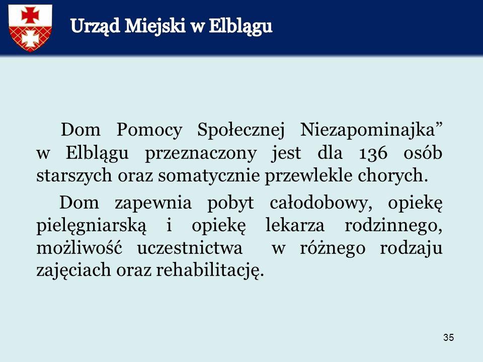 35 Dom Pomocy Społecznej Niezapominajka w Elblągu przeznaczony jest dla 136 osób starszych oraz somatycznie przewlekle chorych.