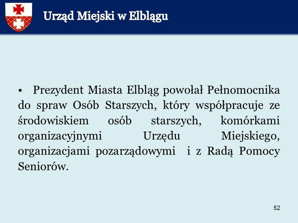 52 Prezydent Miasta Elbląg powołał Pełnomocnika do spraw Osób Starszych, który współpracuje ze środowiskiem osób starszych, komórkami organizacyjnymi Urzędu Miejskiego, organizacjami pozarządowymi i z Radą Pomocy Seniorów.