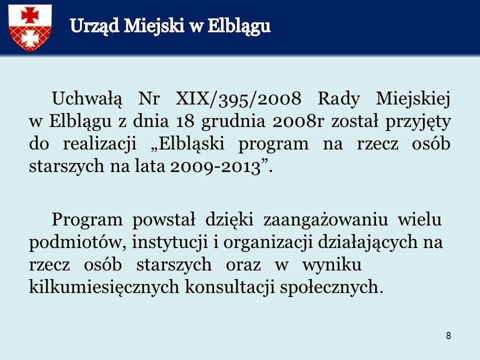 """8 Uchwałą Nr XIX/395/2008 Rady Miejskiej w Elblągu z dnia 18 grudnia 2008r został przyjęty do realizacji """"Elbląski program na rzecz osób starszych na lata 2009-2013 ."""