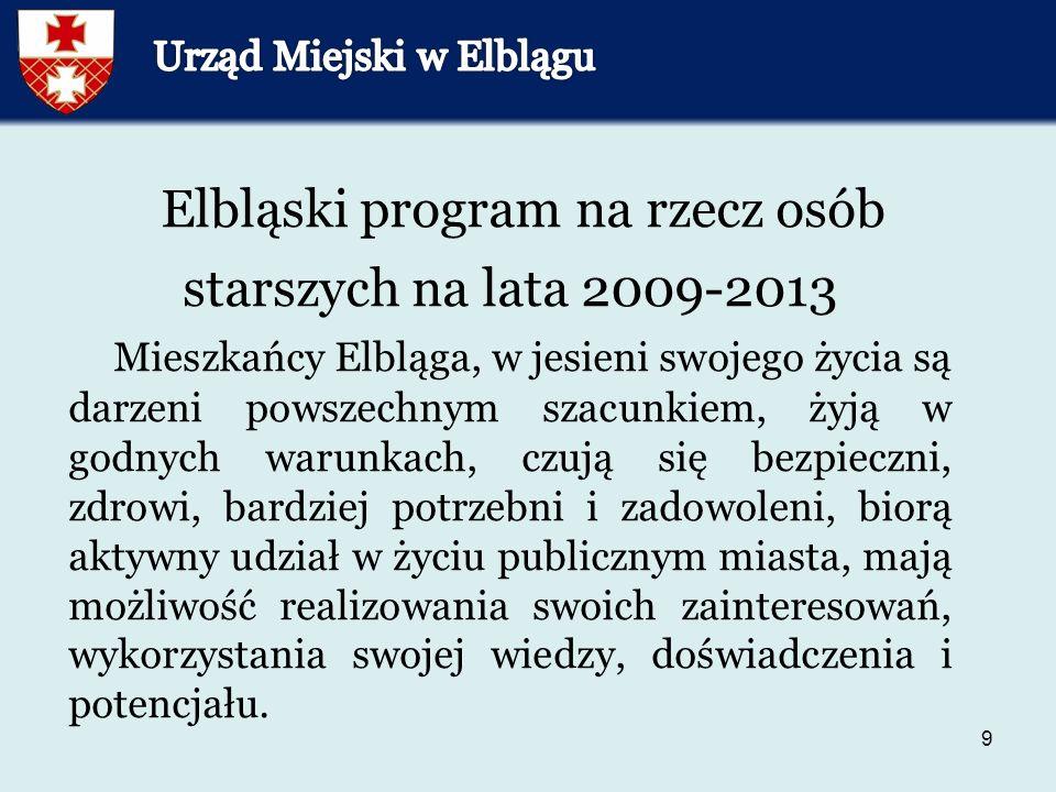9 Elbląski program na rzecz osób starszych na lata 2009-2013 Mieszkańcy Elbląga, w jesieni swojego życia są darzeni powszechnym szacunkiem, żyją w godnych warunkach, czują się bezpieczni, zdrowi, bardziej potrzebni i zadowoleni, biorą aktywny udział w życiu publicznym miasta, mają możliwość realizowania swoich zainteresowań, wykorzystania swojej wiedzy, doświadczenia i potencjału.