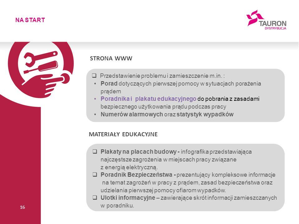 NA START 16 STRONA WWW  Przedstawienie problemu i zamieszczenie m.in.