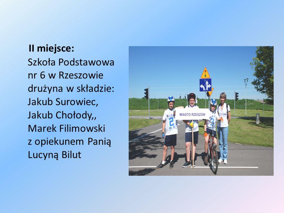 II miejsce: Szkoła Podstawowa nr 6 w Rzeszowie drużyna w składzie: Jakub Surowiec, Jakub Chołody,, Marek Filimowski z opiekunem Panią Lucyną Bilut