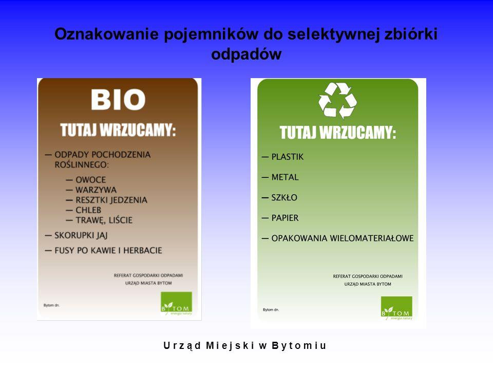 Oznakowanie pojemników do selektywnej zbiórki odpadów U r z ą d M i e j s k i w B y t o m i u