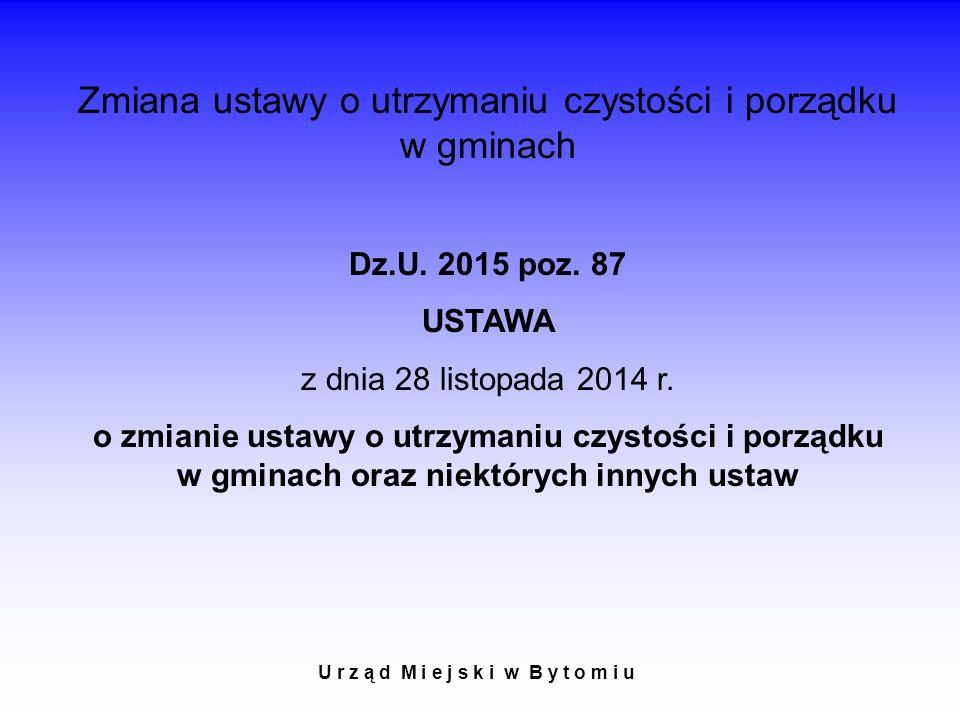 U r z ą d M i e j s k i w B y t o m i u Zmiana ustawy o utrzymaniu czystości i porządku w gminach Dz.U.