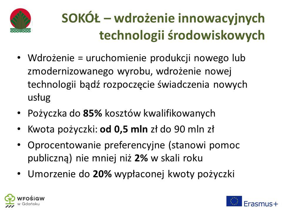 SOKÓŁ – wdrożenie innowacyjnych technologii środowiskowych Wdrożenie = uruchomienie produkcji nowego lub zmodernizowanego wyrobu, wdrożenie nowej technologii bądź rozpoczęcie świadczenia nowych usług Pożyczka do 85% kosztów kwalifikowanych Kwota pożyczki: od 0,5 mln zł do 90 mln zł Oprocentowanie preferencyjne (stanowi pomoc publiczną) nie mniej niż 2% w skali roku Umorzenie do 20% wypłaconej kwoty pożyczki