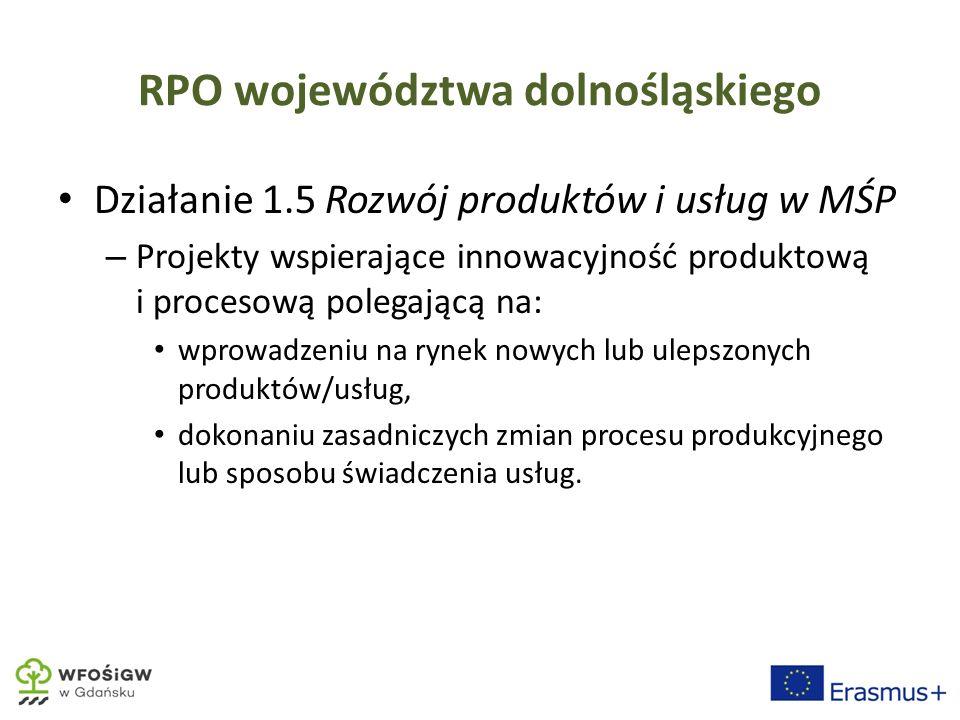 RPO województwa dolnośląskiego Działanie 1.5 Rozwój produktów i usług w MŚP – Projekty wspierające innowacyjność produktową i procesową polegającą na: wprowadzeniu na rynek nowych lub ulepszonych produktów/usług, dokonaniu zasadniczych zmian procesu produkcyjnego lub sposobu świadczenia usług.