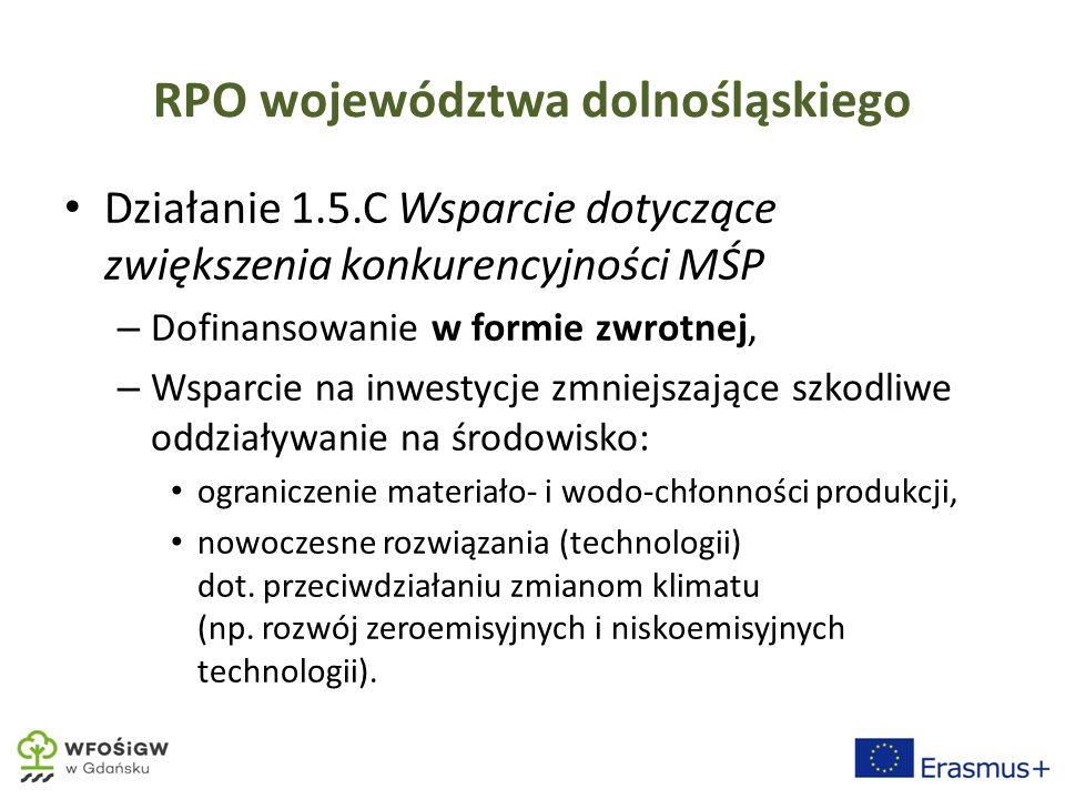 RPO województwa dolnośląskiego Działanie 1.5.C Wsparcie dotyczące zwiększenia konkurencyjności MŚP – Dofinansowanie w formie zwrotnej, – Wsparcie na inwestycje zmniejszające szkodliwe oddziaływanie na środowisko: ograniczenie materiało- i wodo-chłonności produkcji, nowoczesne rozwiązania (technologii) dot.
