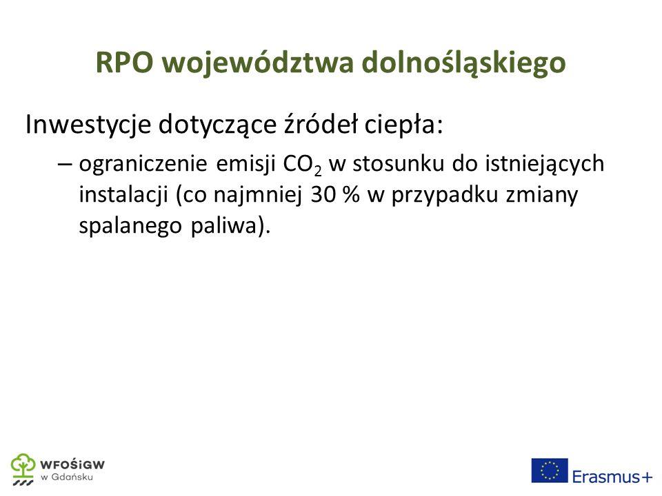 RPO województwa dolnośląskiego Inwestycje dotyczące źródeł ciepła: – ograniczenie emisji CO 2 w stosunku do istniejących instalacji (co najmniej 30 % w przypadku zmiany spalanego paliwa).