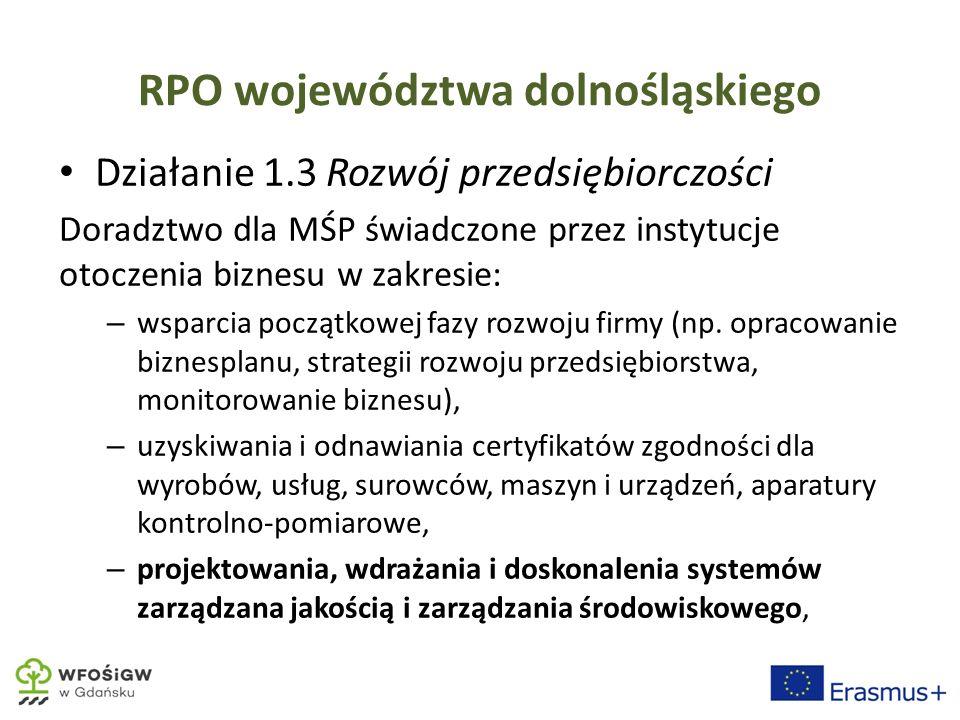 RPO województwa dolnośląskiego Działanie 1.3 Rozwój przedsiębiorczości Doradztwo dla MŚP świadczone przez instytucje otoczenia biznesu w zakresie: – wsparcia początkowej fazy rozwoju firmy (np.