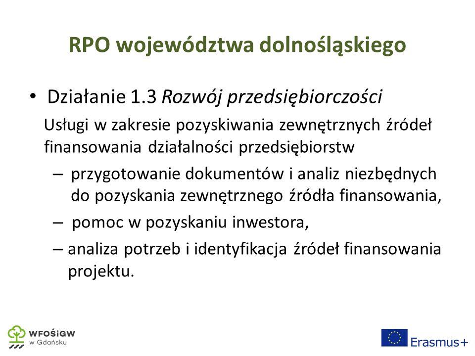 RPO województwa dolnośląskiego Działanie 1.3 Rozwój przedsiębiorczości Usługi w zakresie pozyskiwania zewnętrznych źródeł finansowania działalności przedsiębiorstw – przygotowanie dokumentów i analiz niezbędnych do pozyskania zewnętrznego źródła finansowania, – pomoc w pozyskaniu inwestora, – analiza potrzeb i identyfikacja źródeł finansowania projektu.