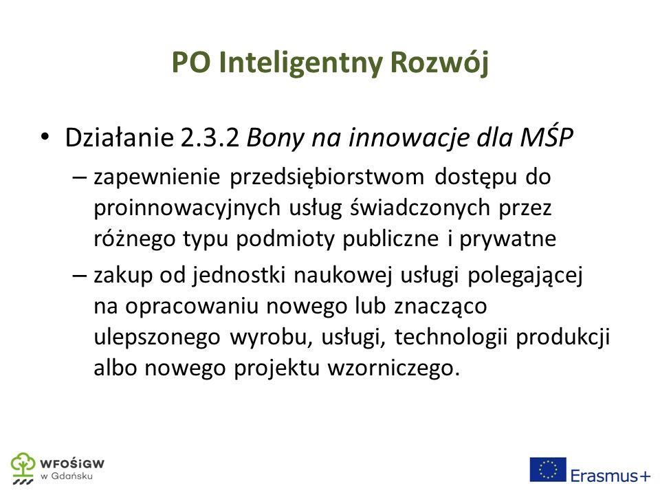 PO Inteligentny Rozwój Działanie 2.3.2 Bony na innowacje dla MŚP – zapewnienie przedsiębiorstwom dostępu do proinnowacyjnych usług świadczonych przez różnego typu podmioty publiczne i prywatne – zakup od jednostki naukowej usługi polegającej na opracowaniu nowego lub znacząco ulepszonego wyrobu, usługi, technologii produkcji albo nowego projektu wzorniczego.