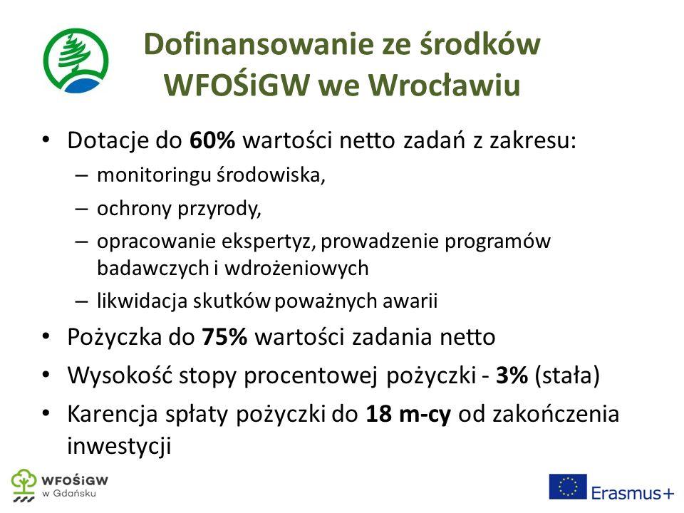 Dofinansowanie ze środków WFOŚiGW we Wrocławiu Dotacje do 60% wartości netto zadań z zakresu: – monitoringu środowiska, – ochrony przyrody, – opracowanie ekspertyz, prowadzenie programów badawczych i wdrożeniowych – likwidacja skutków poważnych awarii Pożyczka do 75% wartości zadania netto Wysokość stopy procentowej pożyczki - 3% (stała) Karencja spłaty pożyczki do 18 m-cy od zakończenia inwestycji