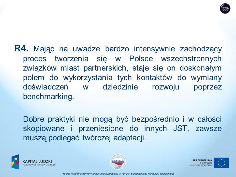 R4. Mając na uwadze bardzo intensywnie zachodzący proces tworzenia się w Polsce wszechstronnych związków miast partnerskich, staje się on doskonałym p