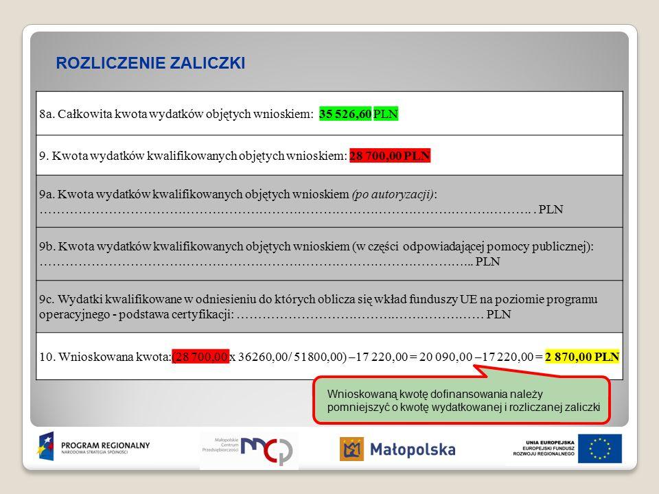 ROZLICZENIE ZALICZKI 8a. Całkowita kwota wydatków objętych wnioskiem: 35 526,60 PLN 9.
