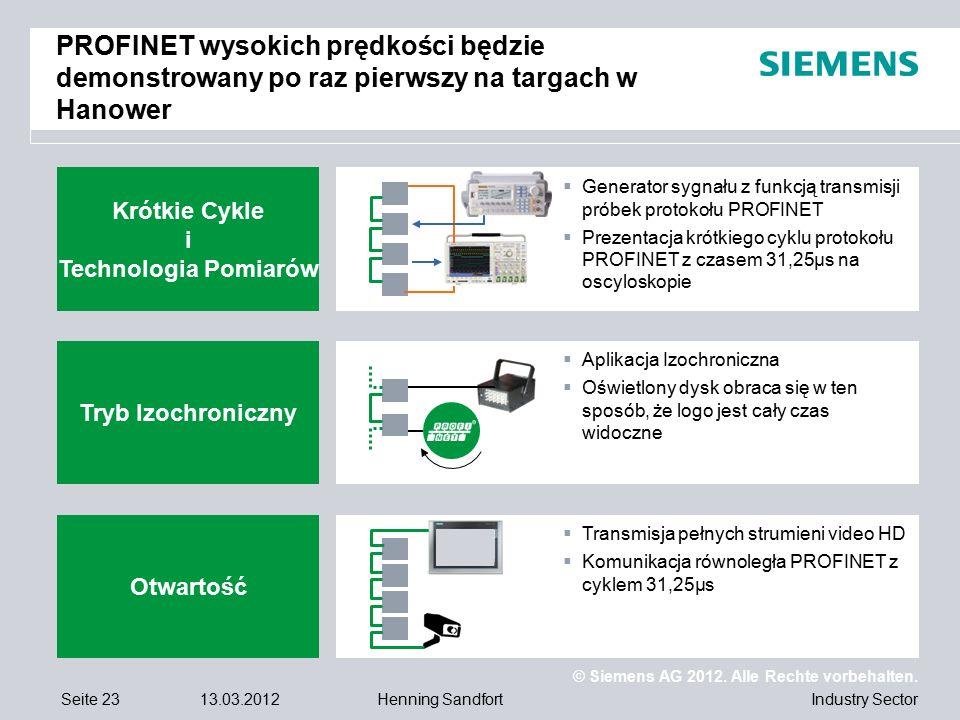 © Siemens AG 2012. Alle Rechte vorbehalten. Industry SectorSeite 2313.03.2012Henning Sandfort PROFINET wysokich prędkości będzie demonstrowany po raz