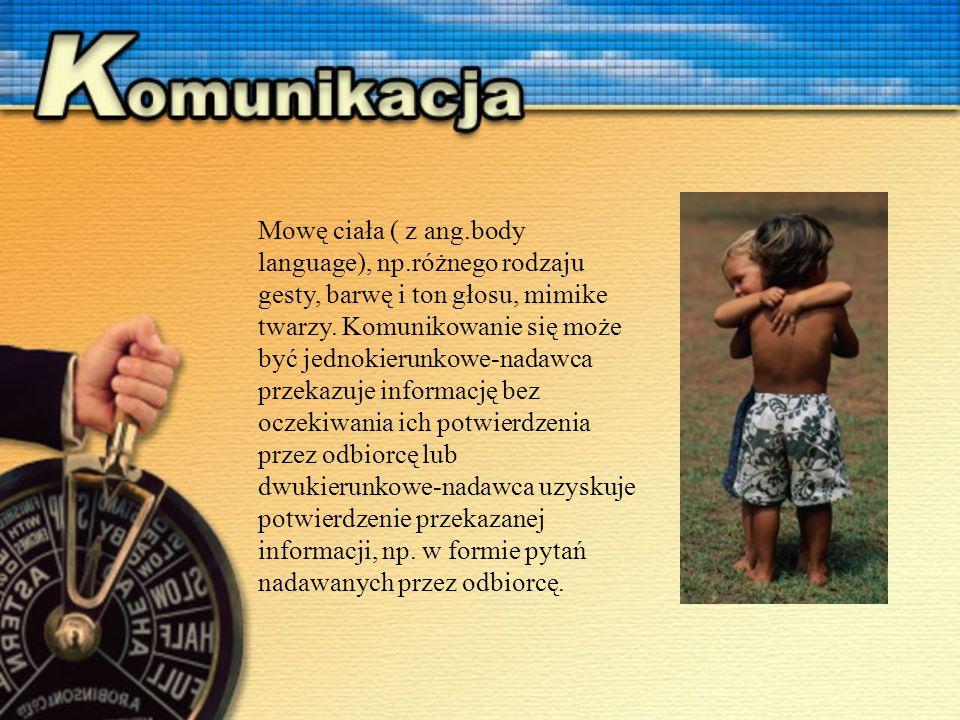 Mowę ciała ( z ang.body language), np.różnego rodzaju gesty, barwę i ton głosu, mimike twarzy.