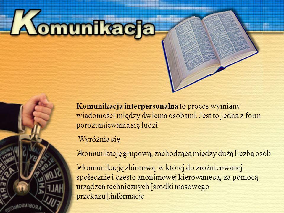 Komunikacja interpersonalna to proces wymiany wiadomości między dwiema osobami.