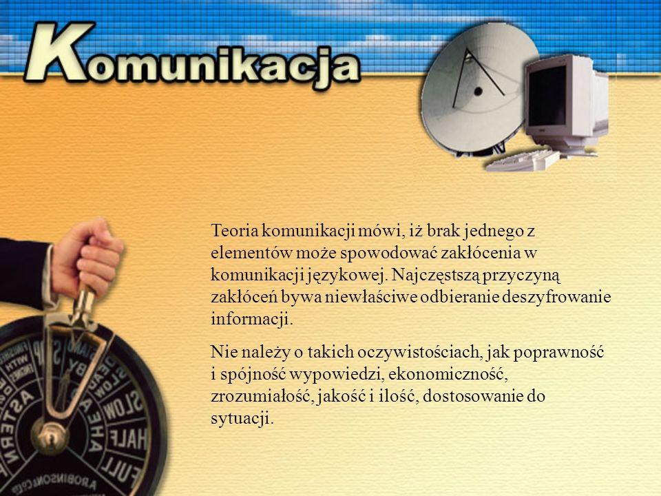 Teoria komunikacji mówi, iż brak jednego z elementów może spowodować zakłócenia w komunikacji językowej.