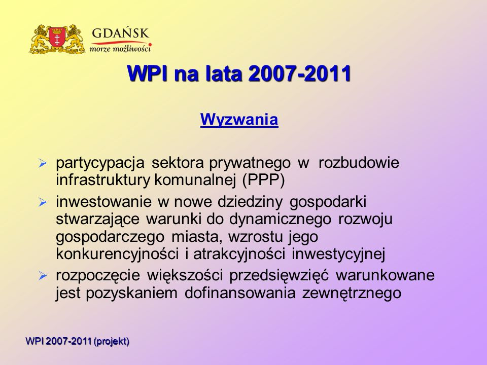 Wysokie technologie i innowacje Nakłady w latach 2007-2011 - 123 mln W tym środki własne 36 mln WPI 2007-2011 (projekt)