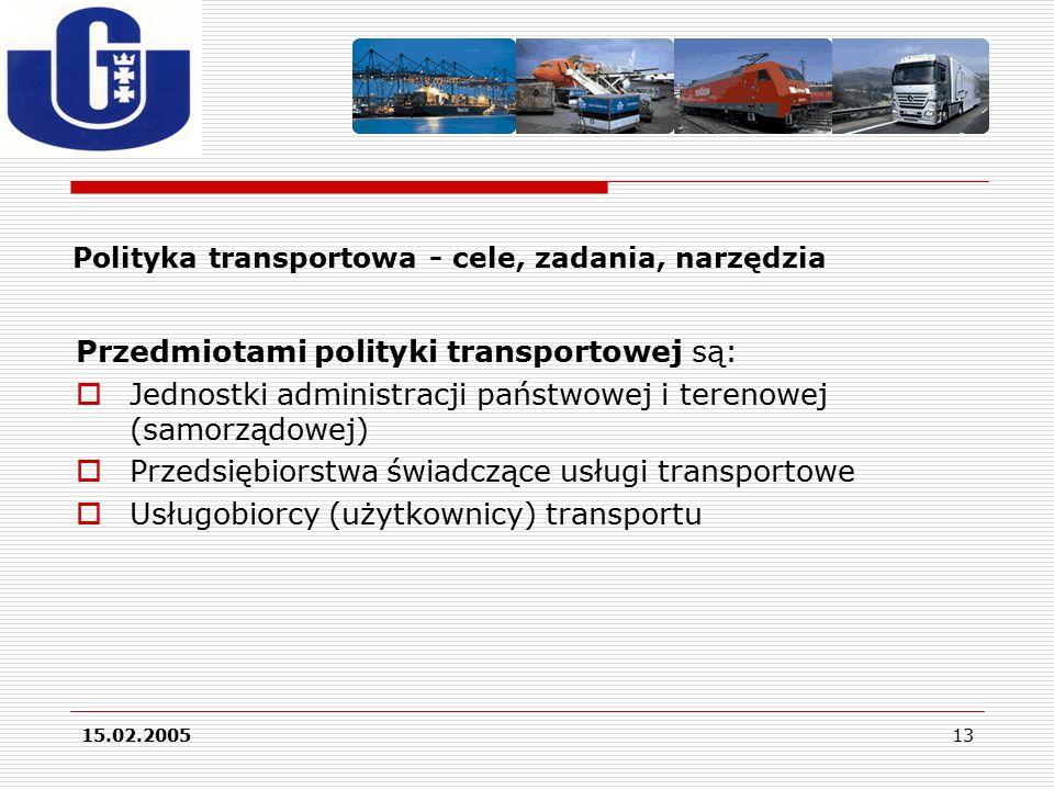 15.02.200513 Polityka transportowa - cele, zadania, narzędzia Przedmiotami polityki transportowej są:  Jednostki administracji państwowej i terenowej (samorządowej)  Przedsiębiorstwa świadczące usługi transportowe  Usługobiorcy (użytkownicy) transportu