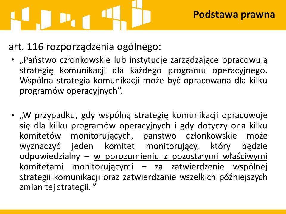 """art. 116 rozporządzenia ogólnego: """"Państwo członkowskie lub instytucje zarządzające opracowują strategię komunikacji dla każdego programu operacyjnego"""