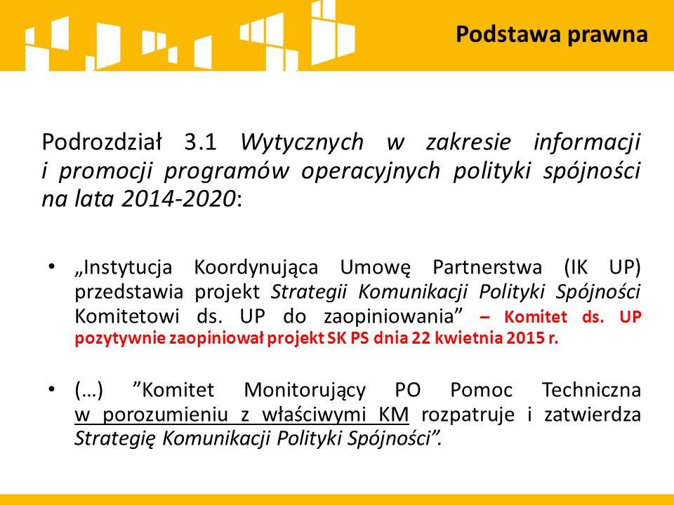 """Podrozdział 3.1 Wytycznych w zakresie informacji i promocji programów operacyjnych polityki spójności na lata 2014-2020: """"Instytucja Koordynująca Umowę Partnerstwa (IK UP) przedstawia projekt Strategii Komunikacji Polityki Spójności Komitetowi ds."""