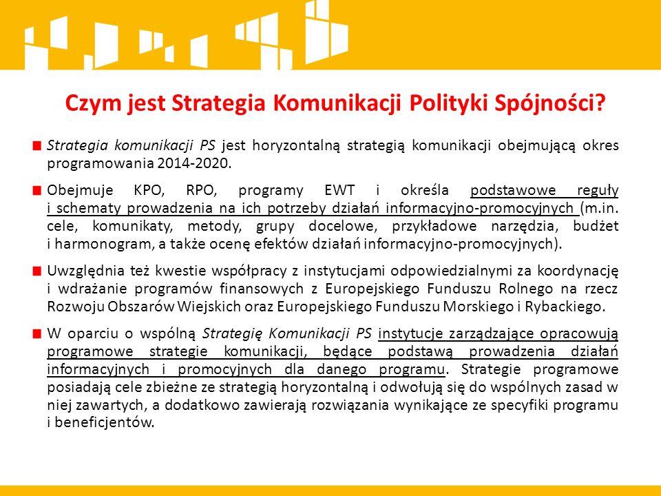 Strategia komunikacji PS jest horyzontalną strategią komunikacji obejmującą okres programowania 2014-2020.