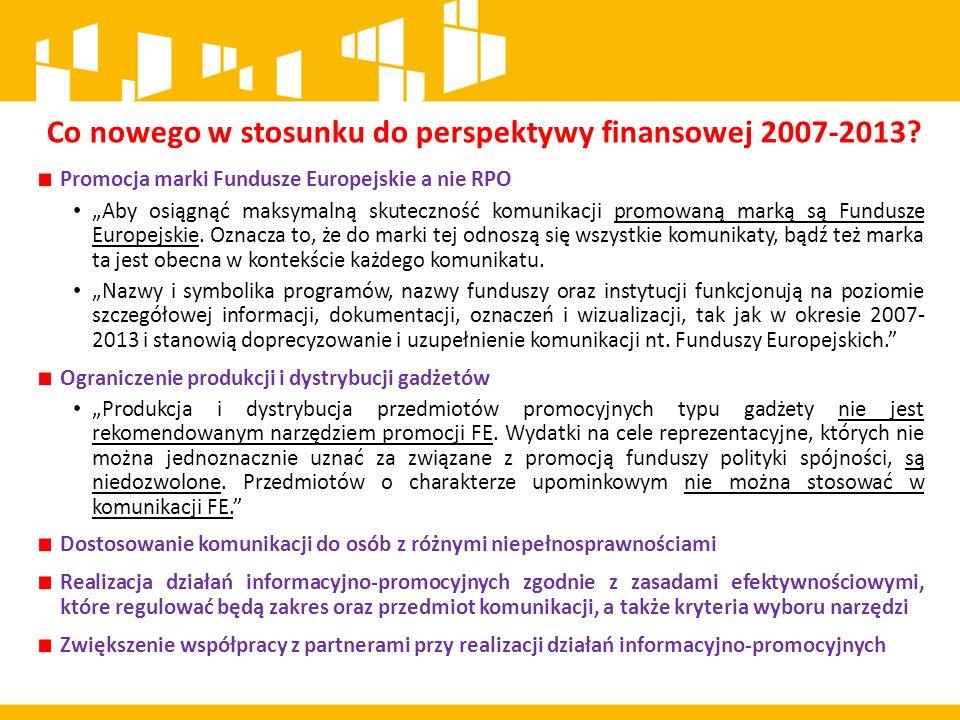 """Promocja marki Fundusze Europejskie a nie RPO """"Aby osiągnąć maksymalną skuteczność komunikacji promowaną marką są Fundusze Europejskie."""