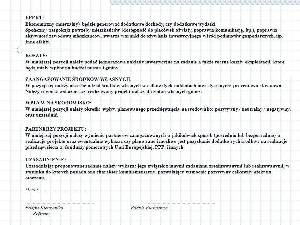 WNIOSEK PRZEDSIĘWZIĘCIA INWESTYCYJNEGO DO PRL (TERMS OF REFERENCE) Zał.