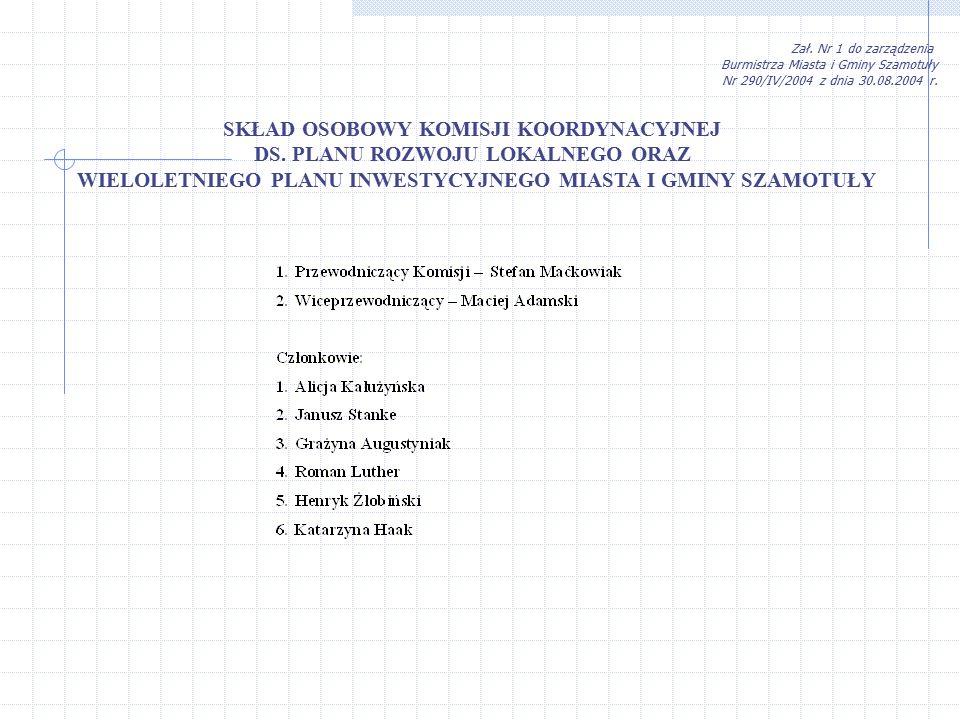 Zał.Nr 1 do zarządzenia Burmistrza Miasta i Gminy Szamotuły Nr 290/IV/2004 z dnia 30.08.2004 r.
