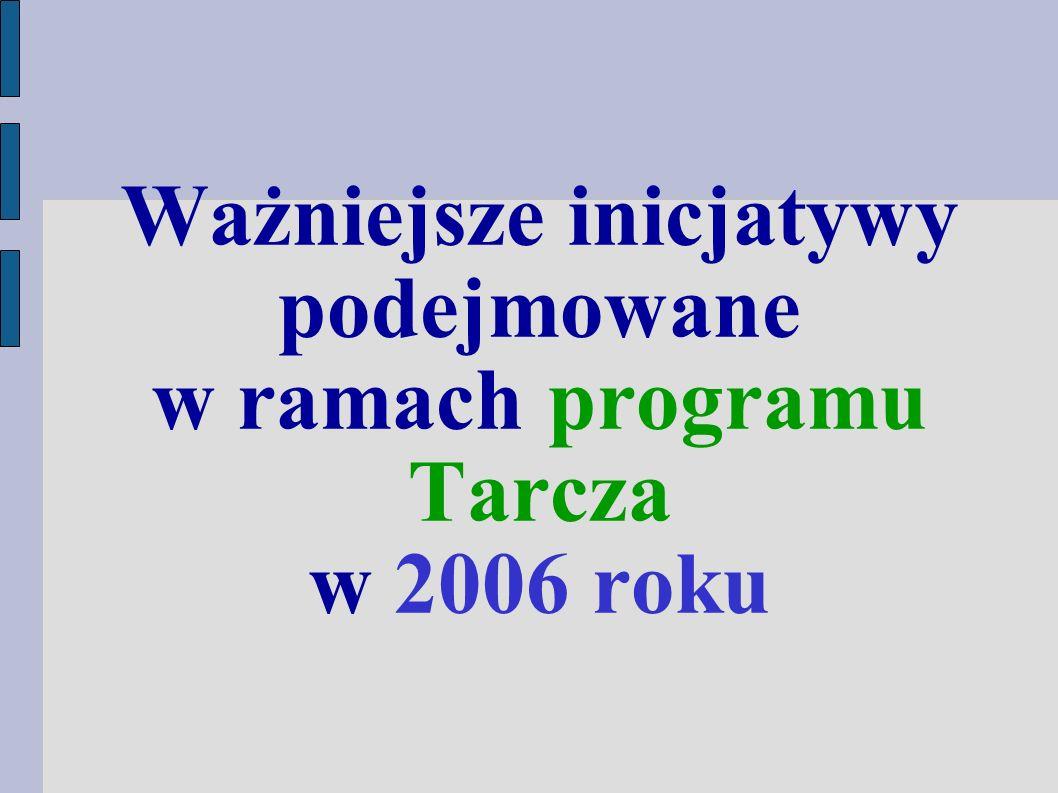 Ważniejsze inicjatywy podejmowane w ramach programu Tarcza w 2006 roku