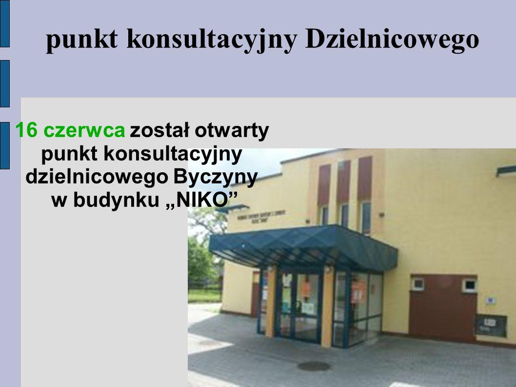"""punkt konsultacyjny Dzielnicowego 16 czerwca został otwarty punkt konsultacyjny dzielnicowego Byczyny w budynku """"NIKO"""