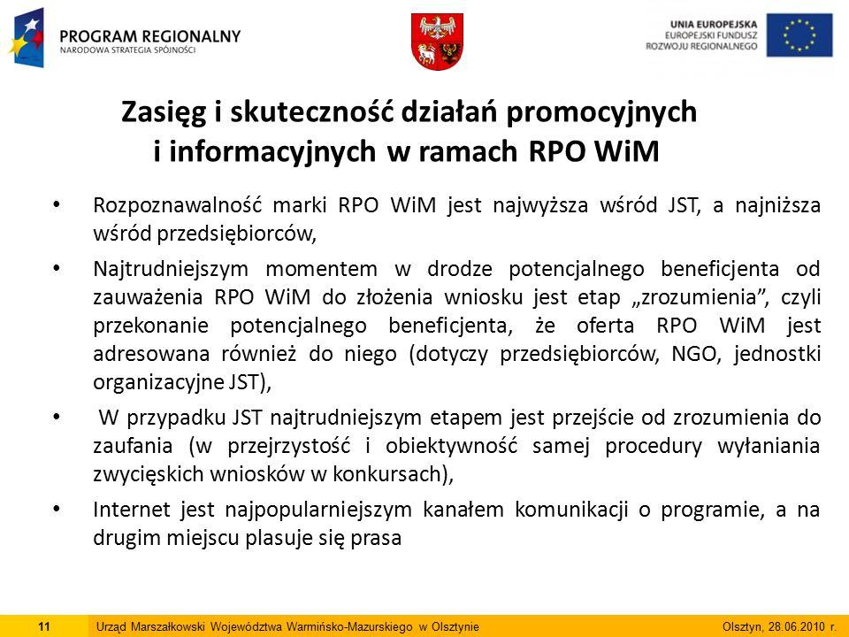 """Rozpoznawalność marki RPO WiM jest najwyższa wśród JST, a najniższa wśród przedsiębiorców, Najtrudniejszym momentem w drodze potencjalnego beneficjenta od zauważenia RPO WiM do złożenia wniosku jest etap """"zrozumienia , czyli przekonanie potencjalnego beneficjenta, że oferta RPO WiM jest adresowana również do niego (dotyczy przedsiębiorców, NGO, jednostki organizacyjne JST), W przypadku JST najtrudniejszym etapem jest przejście od zrozumienia do zaufania (w przejrzystość i obiektywność samej procedury wyłaniania zwycięskich wniosków w konkursach), Internet jest najpopularniejszym kanałem komunikacji o programie, a na drugim miejscu plasuje się prasa 11Urząd Marszałkowski Województwa Warmińsko-Mazurskiego w Olsztynie Olsztyn, 28.06.2010 r."""