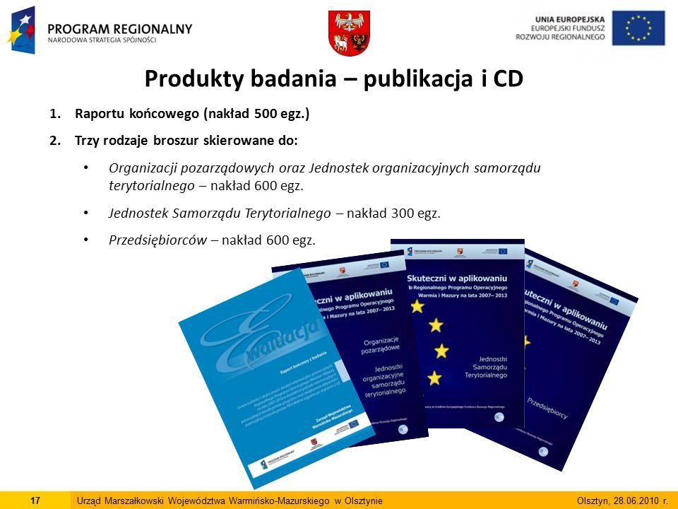 1.Raportu końcowego (nakład 500 egz.) 2.Trzy rodzaje broszur skierowane do: Organizacji pozarządowych oraz Jednostek organizacyjnych samorządu terytorialnego – nakład 600 egz.