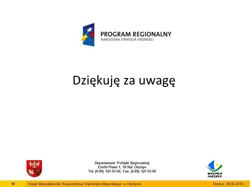 Dziękuję za uwagę Departament Polityki Regionalnej Emilii Plater 1, 10-562 Olsztyn Tel. (0-89) 521-93-00, Fax. (0-89) 521-93-09 18Urząd Marszałkowski