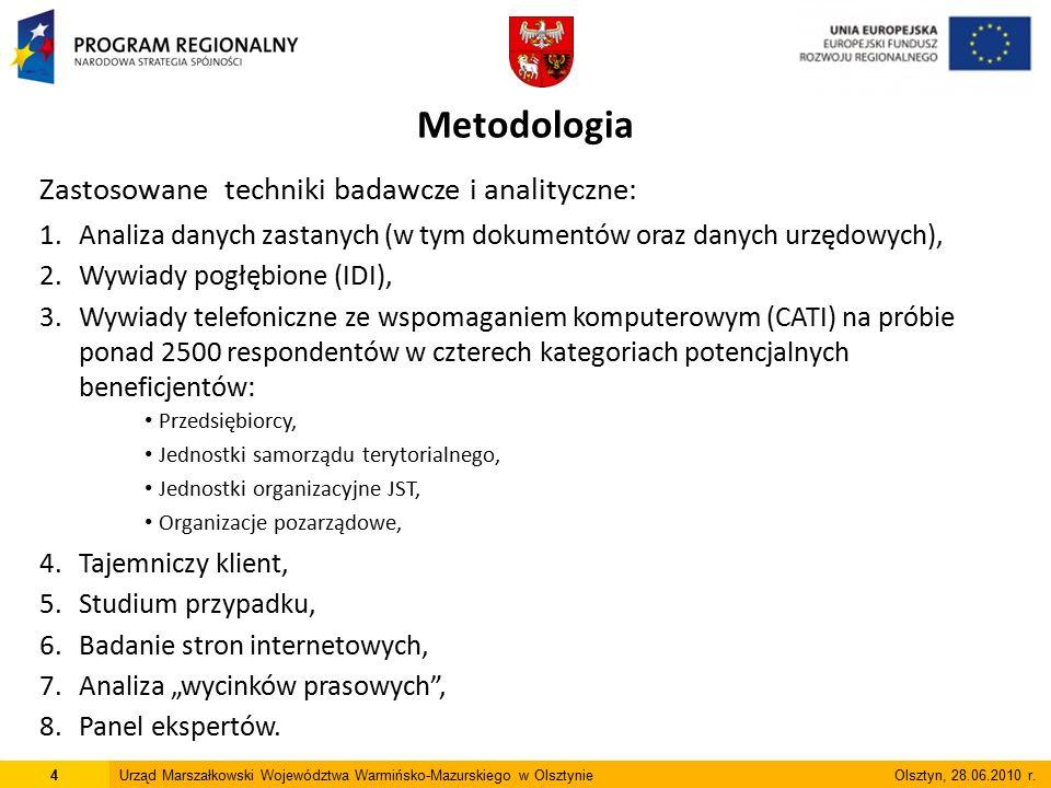 Metodologia Zastosowane techniki badawcze i analityczne: 1.Analiza danych zastanych (w tym dokumentów oraz danych urzędowych), 2.Wywiady pogłębione (I