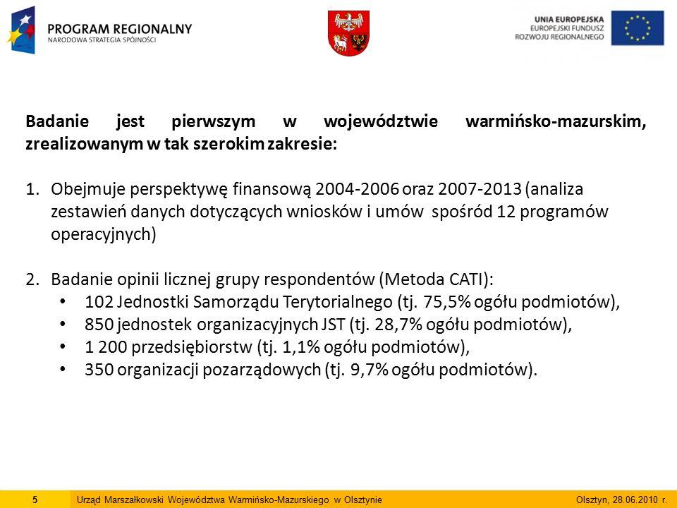 Badanie jest pierwszym w województwie warmińsko-mazurskim, zrealizowanym w tak szerokim zakresie: 1.Obejmuje perspektywę finansową 2004-2006 oraz 2007