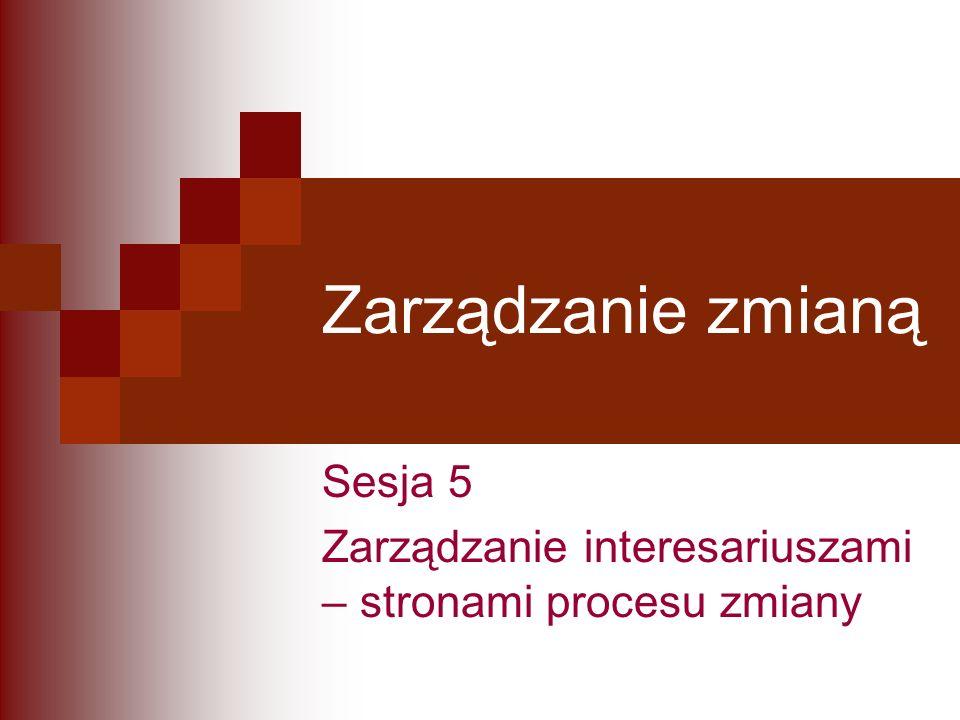 Zarządzanie zmianą Sesja 5 Zarządzanie interesariuszami – stronami procesu zmiany