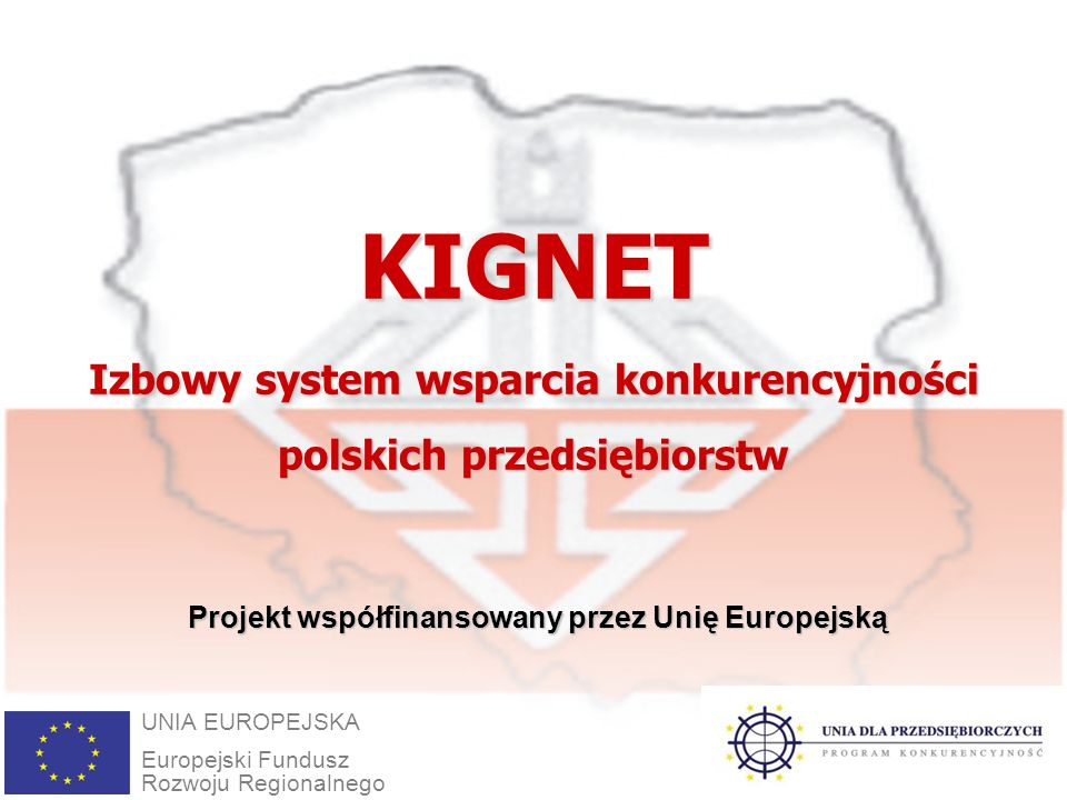 1KIGNET Izbowy system wsparcia konkurencyjności polskich przedsiębiorstw UNIA EUROPEJSKA Europejski Fundusz Rozwoju Regionalnego Projekt współfinansowany przez Unię Europejską