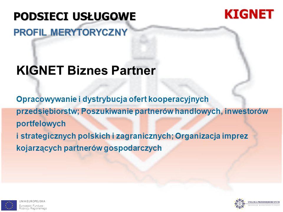26 KIGNET Biznes Partner Opracowywanie i dystrybucja ofert kooperacyjnych przedsiębiorstw; Poszukiwanie partnerów handlowych, inwestorów portfelowych i strategicznych polskich i zagranicznych; Organizacja imprez kojarzących partnerów gospodarczychKIGNET PODSIECI USŁUGOWE PROFIL MERYTORYCZNY UNIA EUROPEJSKA Europejski Fundusz Rozwoju Regionalnego