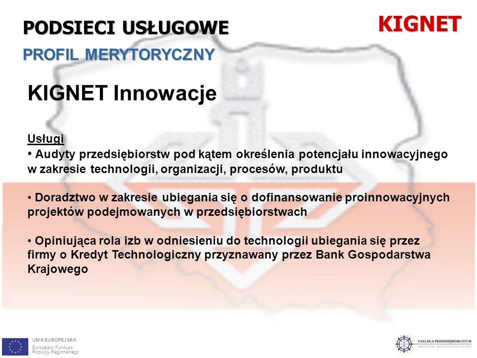 28 KIGNET Innowacje Usługi Audyty przedsiębiorstw pod kątem określenia potencjału innowacyjnego w zakresie technologii, organizacji, procesów, produktu Doradztwo w zakresie ubiegania się o dofinansowanie proinnowacyjnych projektów podejmowanych w przedsiębiorstwach Opiniująca rola izb w odniesieniu do technologii ubiegania się przez firmy o Kredyt Technologiczny przyznawany przez Bank Gospodarstwa KrajowegoKIGNET PODSIECI USŁUGOWE PROFIL MERYTORYCZNY UNIA EUROPEJSKA Europejski Fundusz Rozwoju Regionalnego