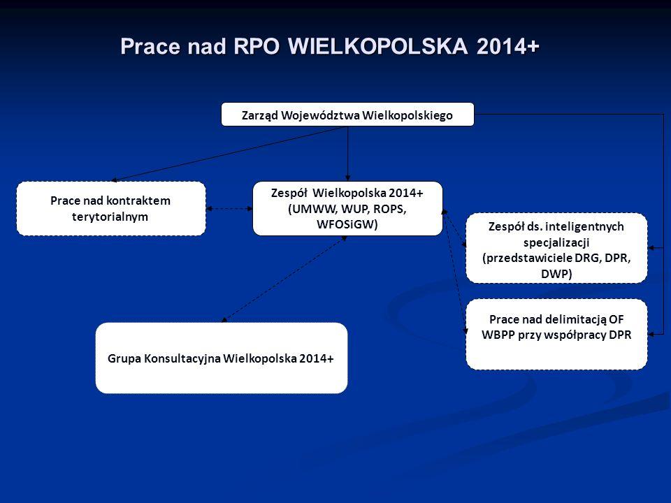 Prace nad RPO WIELKOPOLSKA 2014+ Zespół Wielkopolska 2014+ (UMWW, WUP, ROPS, WFOSiGW) Prace nad kontraktem terytorialnym Zespół ds.