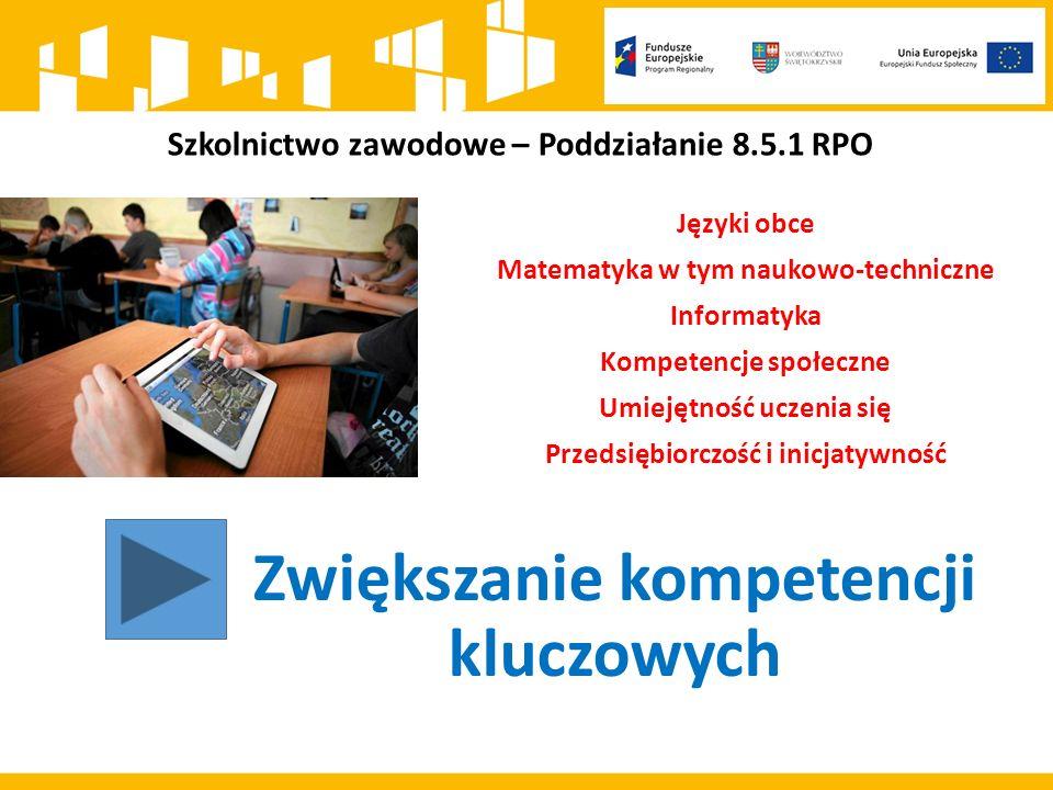 Szkolnictwo zawodowe – Poddziałanie 8.5.1 RPO Zwiększanie kompetencji kluczowych Języki obce Matematyka w tym naukowo-techniczne Informatyka Kompetencje społeczne Umiejętność uczenia się Przedsiębiorczość i inicjatywność