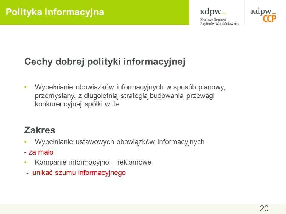20 Polityka informacyjna Cechy dobrej polityki informacyjnej Wypełnianie obowiązków informacyjnych w sposób planowy, przemyślany, z długoletnią strategią budowania przewagi konkurencyjnej spółki w tle Zakres Wypełnianie ustawowych obowiązków informacyjnych - za mało Kampanie informacyjno – reklamowe - unikać szumu informacyjnego