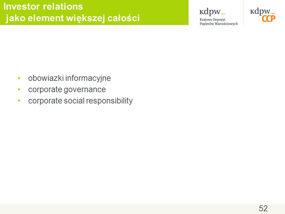 Investor relations jako element większej całości obowiazki informacyjne corporate governance corporate social responsibility 52
