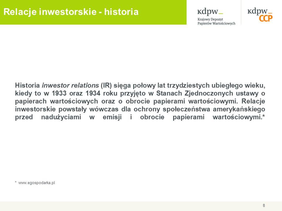 Relacje inwestorskie - historia Historia inwestor relations (IR) sięga połowy lat trzydziestych ubiegłego wieku, kiedy to w 1933 oraz 1934 roku przyjęto w Stanach Zjednoczonych ustawy o papierach wartościowych oraz o obrocie papierami wartościowymi.