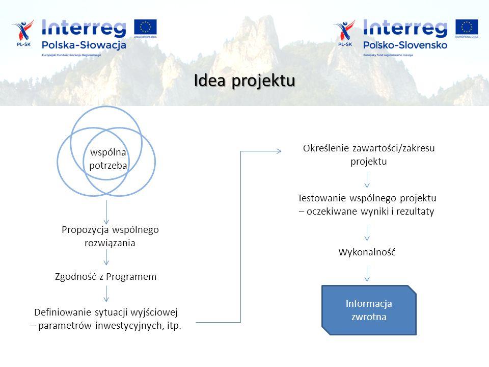 Idea projektu Zgodność z Programem Testowanie wspólnego projektu – oczekiwane wyniki i rezultaty Informacja zwrotna Definiowanie sytuacji wyjściowej – parametrów inwestycyjnych, itp.