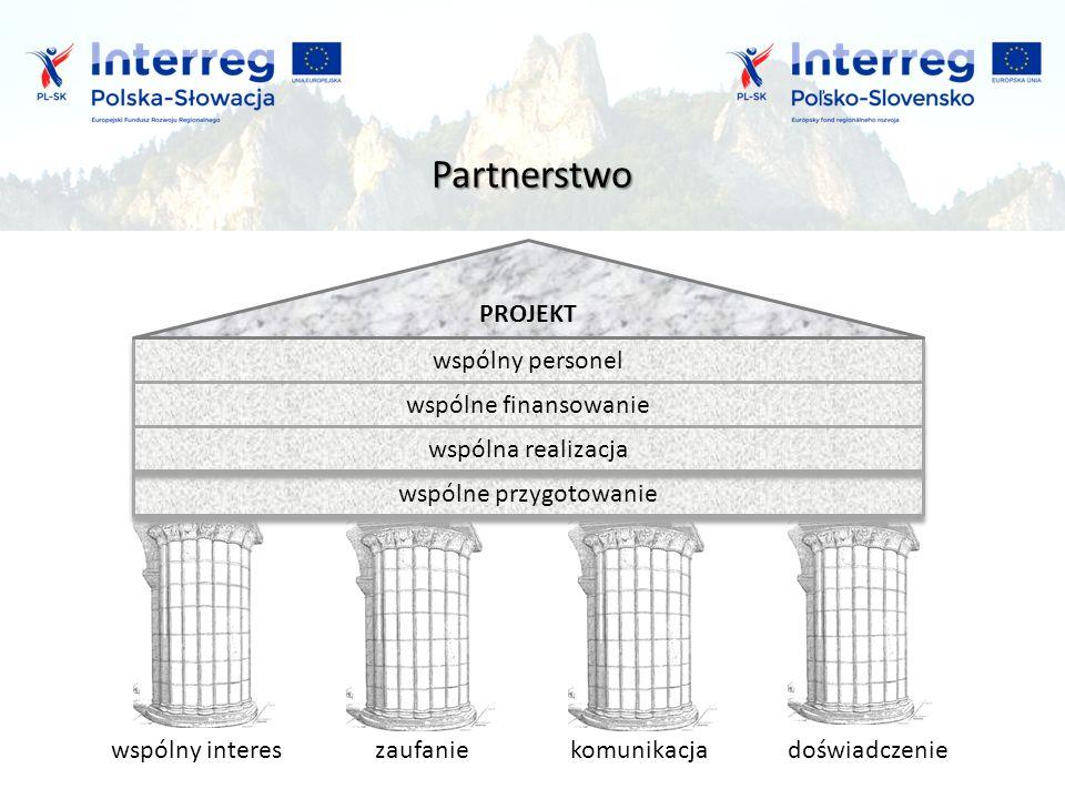 współpraca Partnerstwo wspólny intereskomunikacjadoświadczenie wspólne przygotowanie wspólne przygotowanie wspólny personel wspólny personel wspólne finansowanie wspólne finansowanie wspólna realizacja wspólna realizacja PROJEKT zaufanie