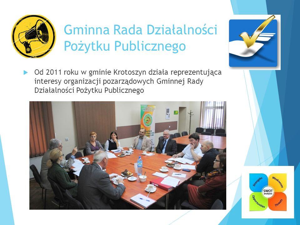 Gminna Rada Działalności Pożytku Publicznego  Od 2011 roku w gminie Krotoszyn działa reprezentująca interesy organizacji pozarządowych Gminnej Rady D