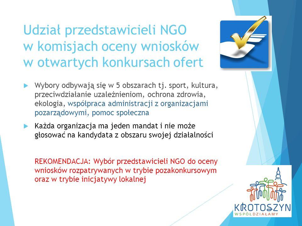 Udział przedstawicieli NGO w komisjach oceny wniosków w otwartych konkursach ofert  Wybory odbywają się w 5 obszarach tj. sport, kultura, przeciwdzia